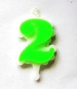 Свеча цифра 2 (зеленая )