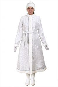 Костюм Снегурочки длинный приталенный сантун белый