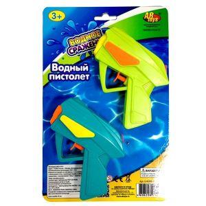 Пистолеты, стреляющие водой 10см, в наборе 2 штуки - голубой и салатовый