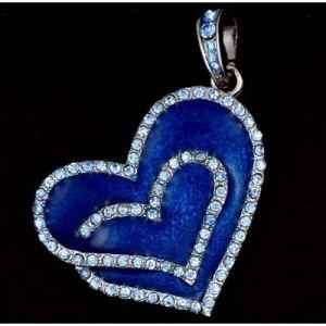 Флешка Сердце синее со стразами
