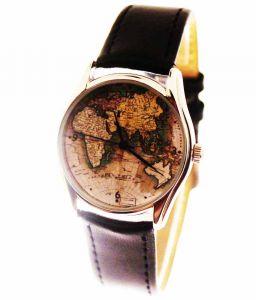 Прикольные наручные часы Карта мира
