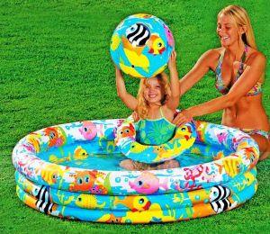 Бассейн детский с кругом и мячом (132х28 см)