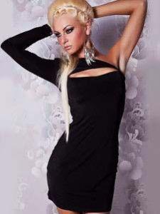 Платье черное с вырезом одно плечо