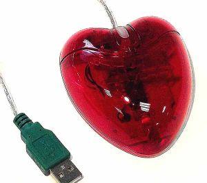 Мышь для ПК Сердце прозрачное